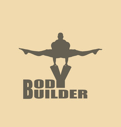 muscular man posing on bodybuilder word vector image vector image