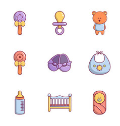 newborn baby icons set flat style vector image