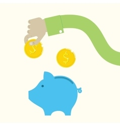 piggy bank and hand with coins vector image