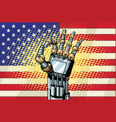 Robot ok gesture the us flag vector