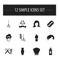 Set of 12 editable hairdresser icons includes vector
