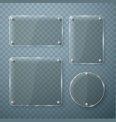 set of glass frames on transparent vector image vector image