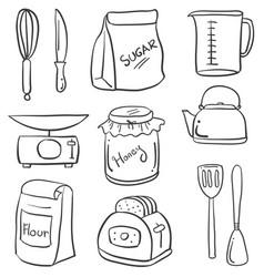 Set of kitchen equipment doodles vector