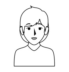 Silhouette half body woman with short hair vector