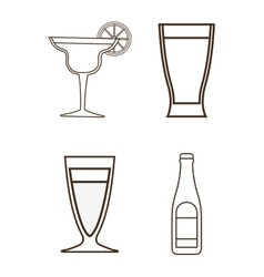 Silhouette set of cocktails Alcohol design vector image