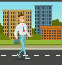 smiling man walking down the street with blue vector image vector image