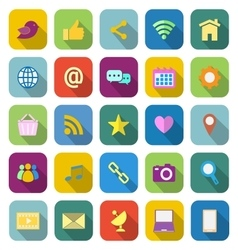Social media color icons with long shadow vector image vector image