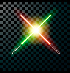 two realistic light swords cross swords isolated vector image
