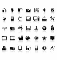 Video and audio icon set vector