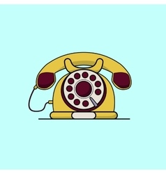 Vintage yellow telephone Line art flat vector image vector image