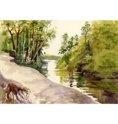 Watercolor summer rural landscape vector