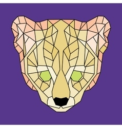 Yellow lined low poly ocelot vector