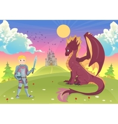 Cartoon knight with dragon a castle in the vector