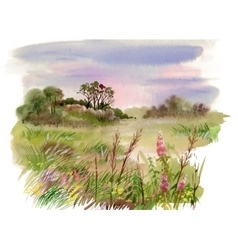 Watercolor summer rural landscape vector