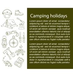 Camping holiday card with line icons vector