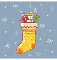 Christmas sock with presents inside vector