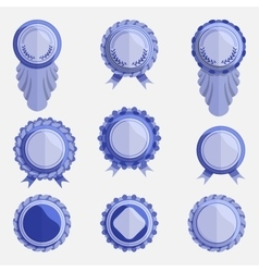 Set of empty blue badges with ribbons vector