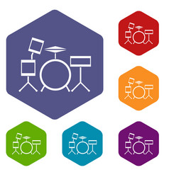 drum kit icons set vector image