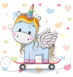Cute cartoon blue unicorn vector