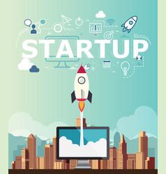Rocketship on computer for startup media vector