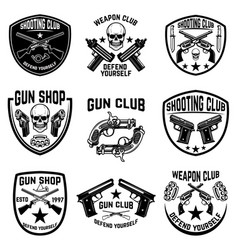 Set of weapon club gun shop emblems labels with vector