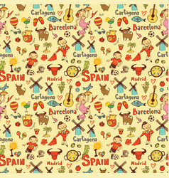Seamless background with symbols of spain vector
