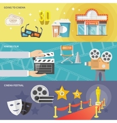 Cinema horizontal banners set vector