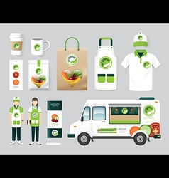 Organic restaurant design set street food truck vector