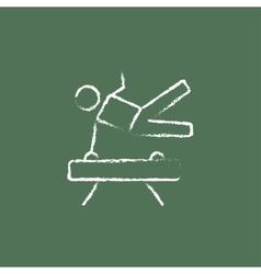 Gymnast on pommel horse icon drawn in chalk vector