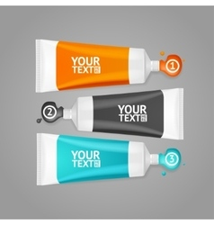 Colorful paint tubes set menu banners option vector