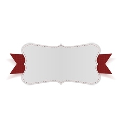 White empty card on red ribbon vector