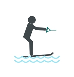 Water skiing icon vector