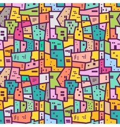 Colorful urban seamless pattern flat style vector