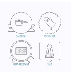 Saucepan potholder and salt icons vector