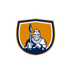 Knight full armor holding paint brush crest retro vector