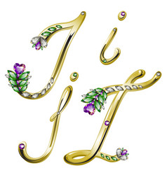 Gold alphabet with diamonds and gems letters I J vector image
