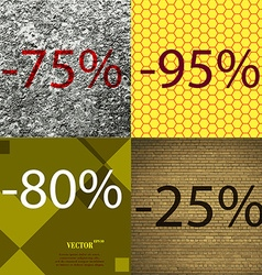 95 80 25 icon set of percent discount on abstract vector