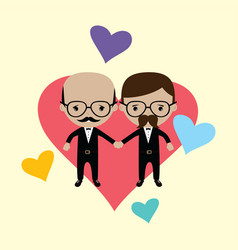 Adorable gay spouse groom lovely cartoon marriage vector