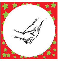 baby tiny hand holding mother hand vector image