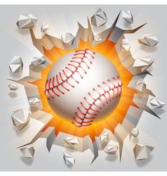 Baseball ball and cracked wall vector