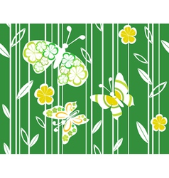 Butterflies And Flowers Pattern vector image vector image