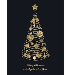 Christmas fir tree with toys vector