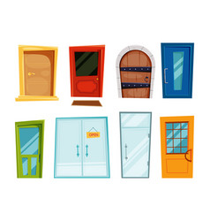 Closed doors of different types vector