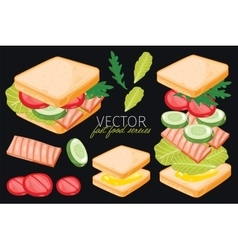 Fish sandwich on black background vector