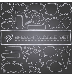 Hand drawn speech bubbles with hearts and clouds vector image