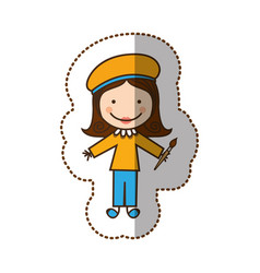 Happy woman painter icon vector