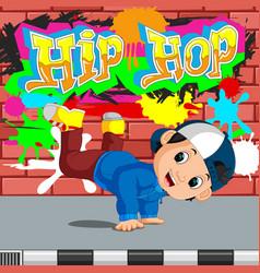 Kids dancing hip hop vector