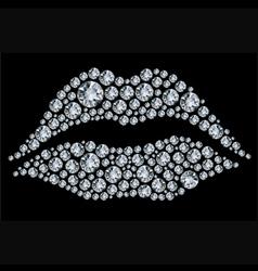 Lips shape made from diamonds vector
