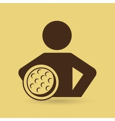 Man hands on waist with golf ball icon vector