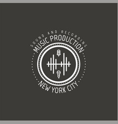 Music production new york city label vector